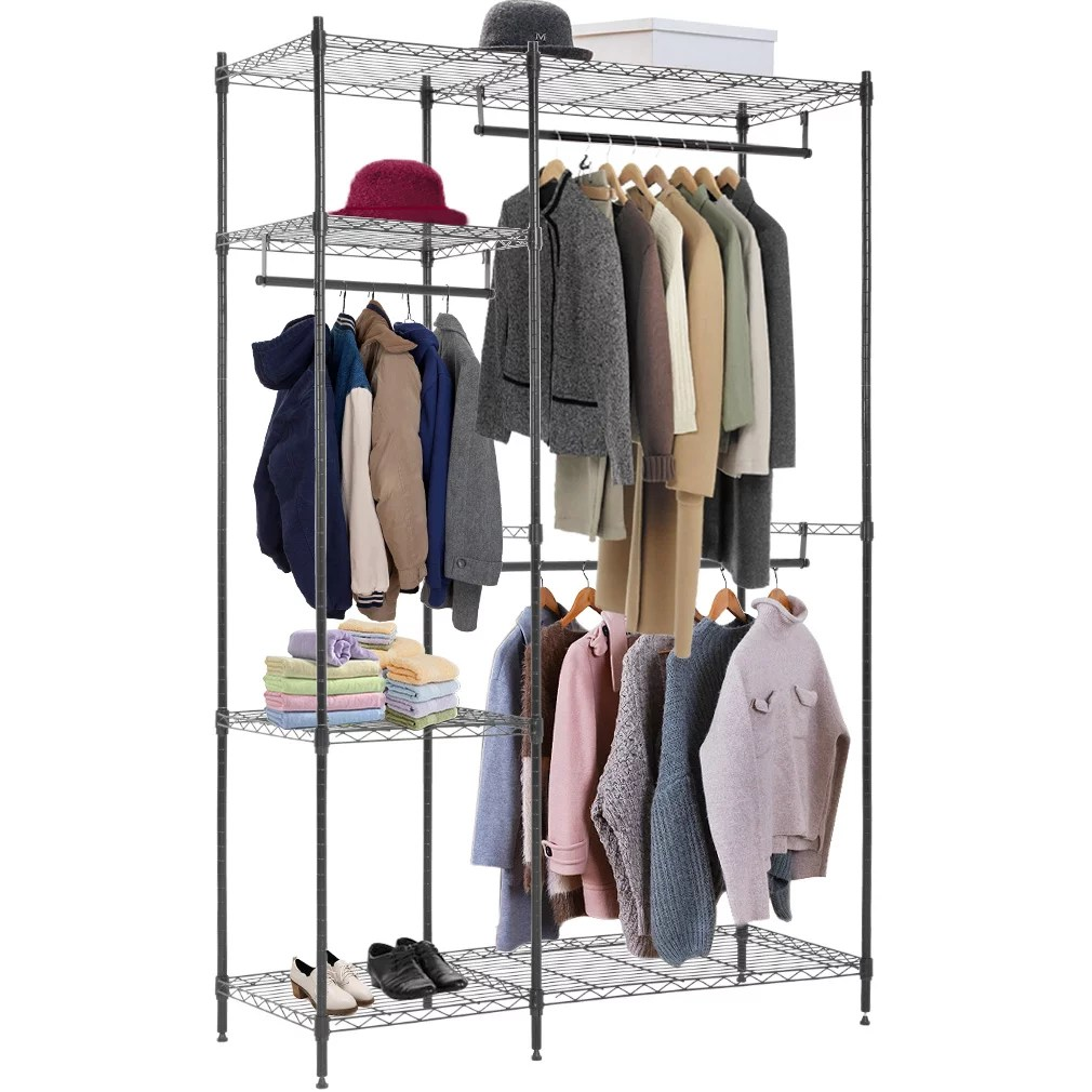 hanging closet organizer and storage heavy duty clothes rack sturdy 3 rod garment rack large with wire shelving height adjustable commercial grade