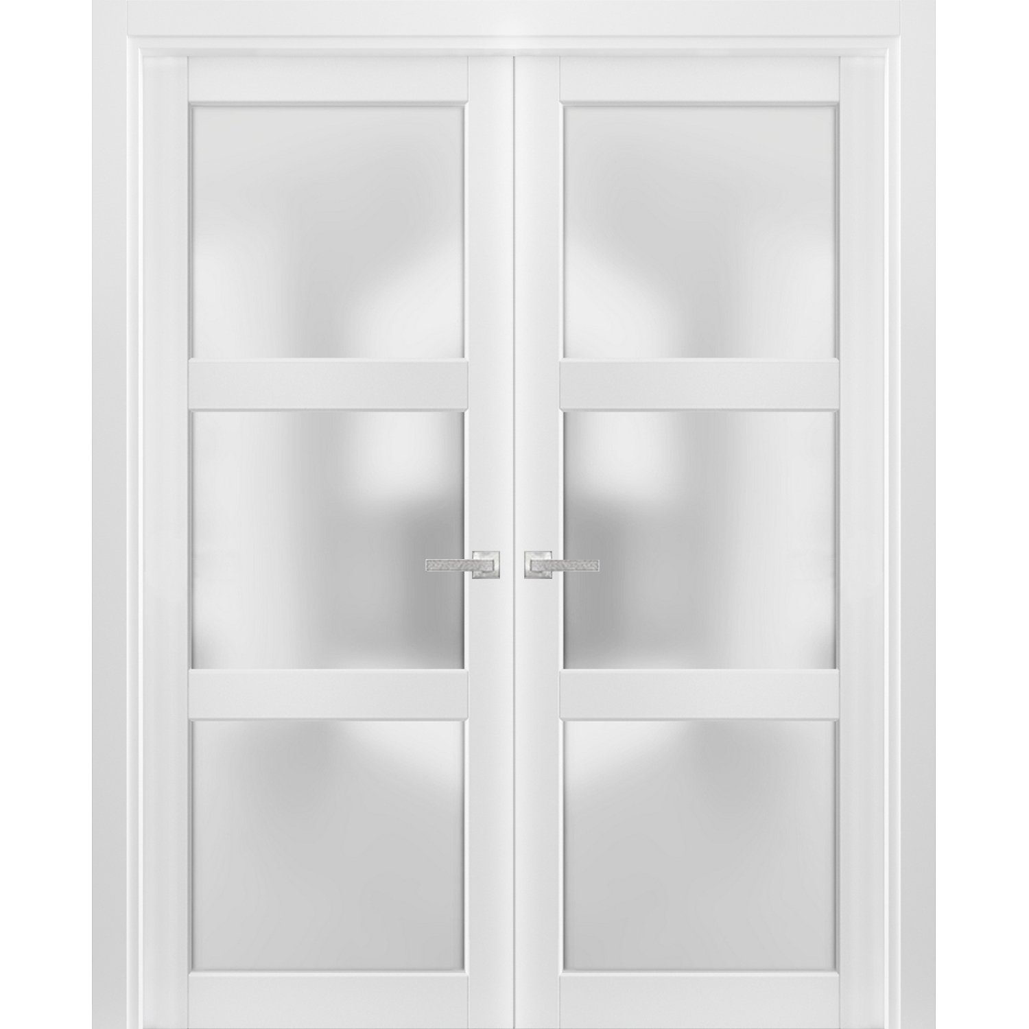 solid french double doors 72 x 80 inches frosted glass 3 lites