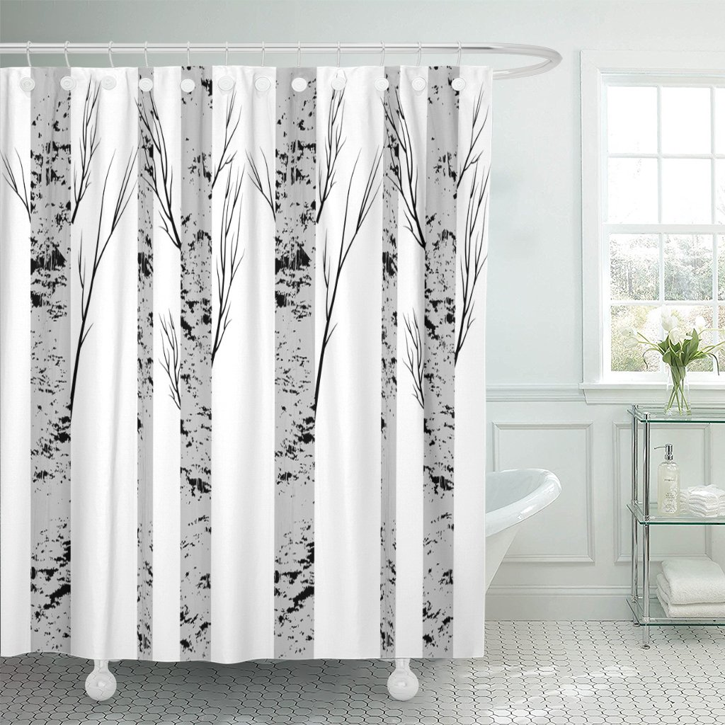 pknmt gray bark birch trees fabrics green pattern forest drawing shower curtain 60x72 inches