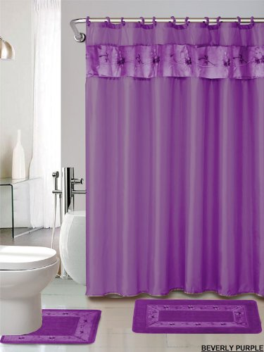 4 piece luxury embroidered bath rug set 3 piece purple bathroom rugs with fabric shower curtain and matching rings