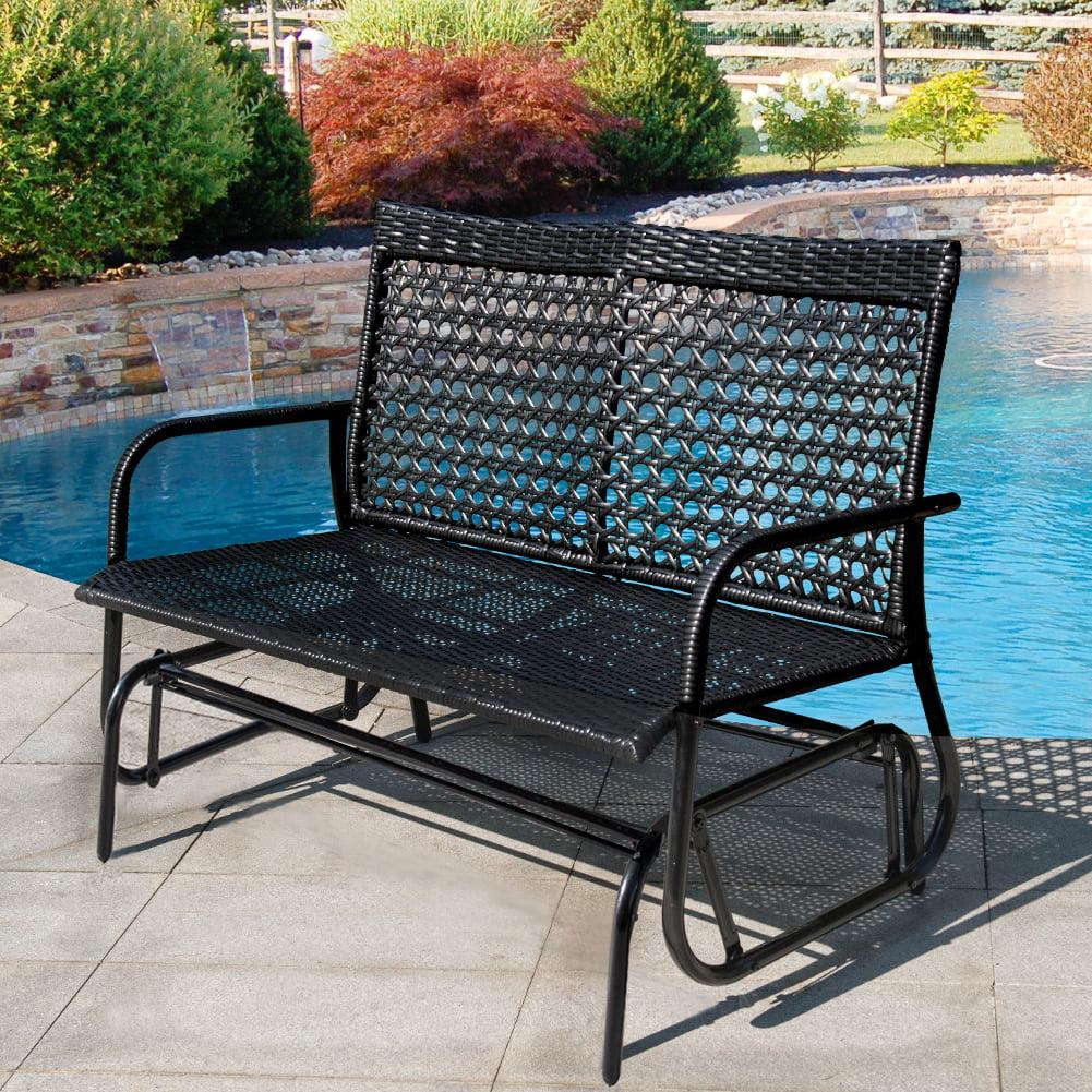 outdoor patio garden porch bench loveseat glider chair black 2 person wicker with rocker black steel frame waterproof