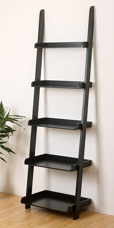 5 Tier Leaning Wall Bookcase Shelf In Black Walmart Com