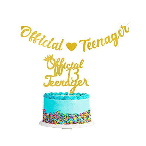 Official Teenager 13th Birthday Decorations Gold Glittery Official Teenager Banner And Official 13 Teenager Cake Topper Cheers To13 Years Old Birthday Party Decorations Supplies Walmart Com Walmart Com