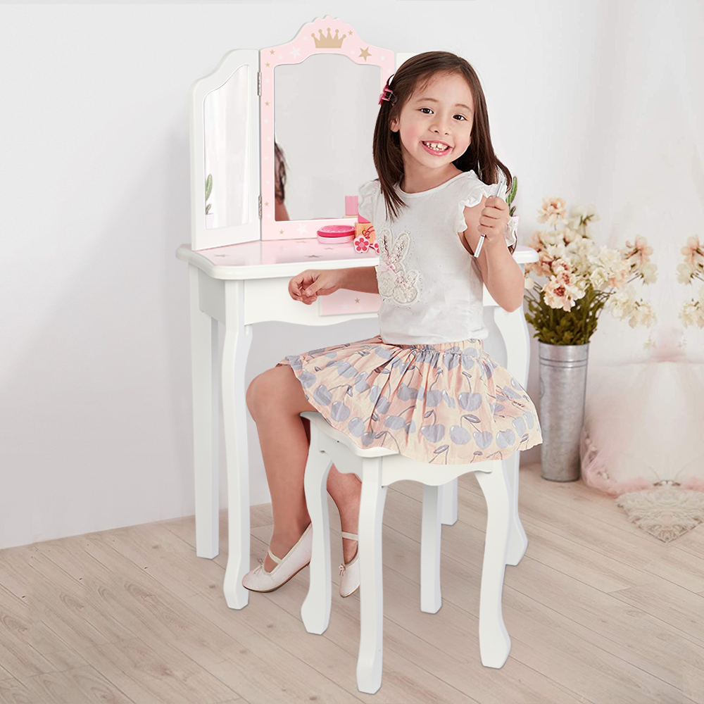 segmart children s cosmetic table wooden toy vanity set for girls vanity set with wood stool dressing table with single drawer storage bedroom