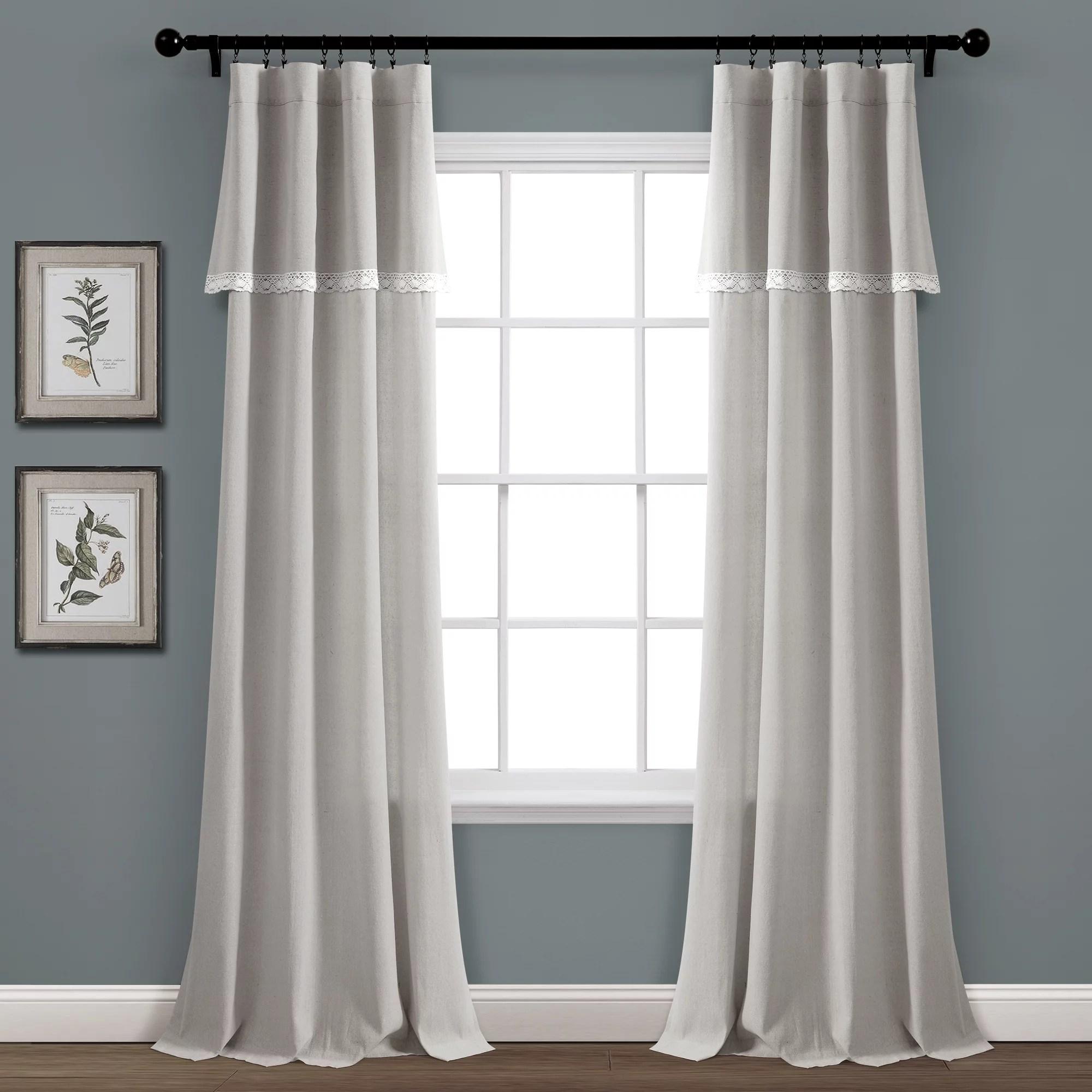lush decor linen lace lace 84 x 38 lace light gray cotton blend 3 rod pocket pair window panel
