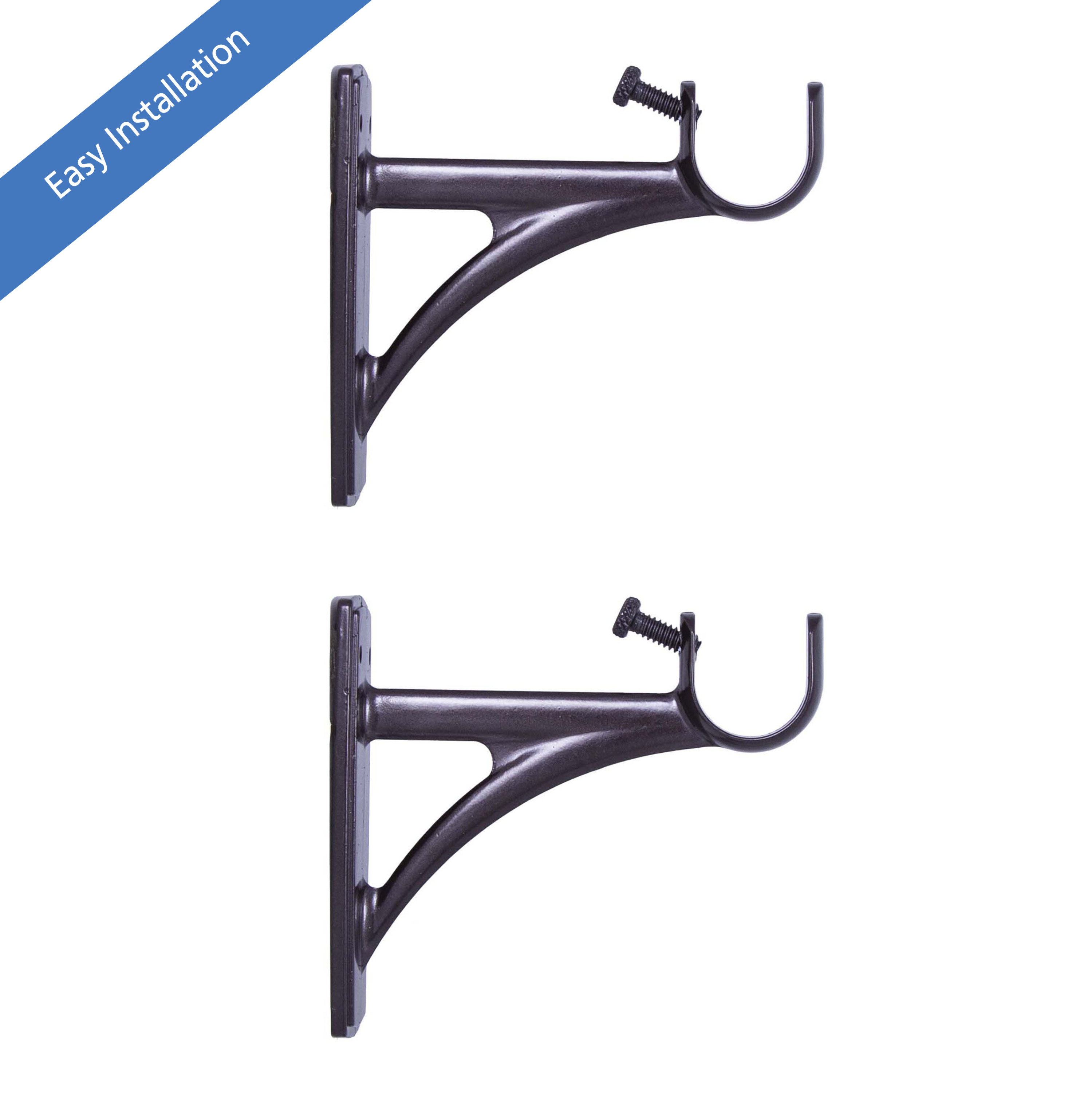 mainstays fast fit easy install single curtain rod brackets 3 4 in to 1 in diameter walmart com