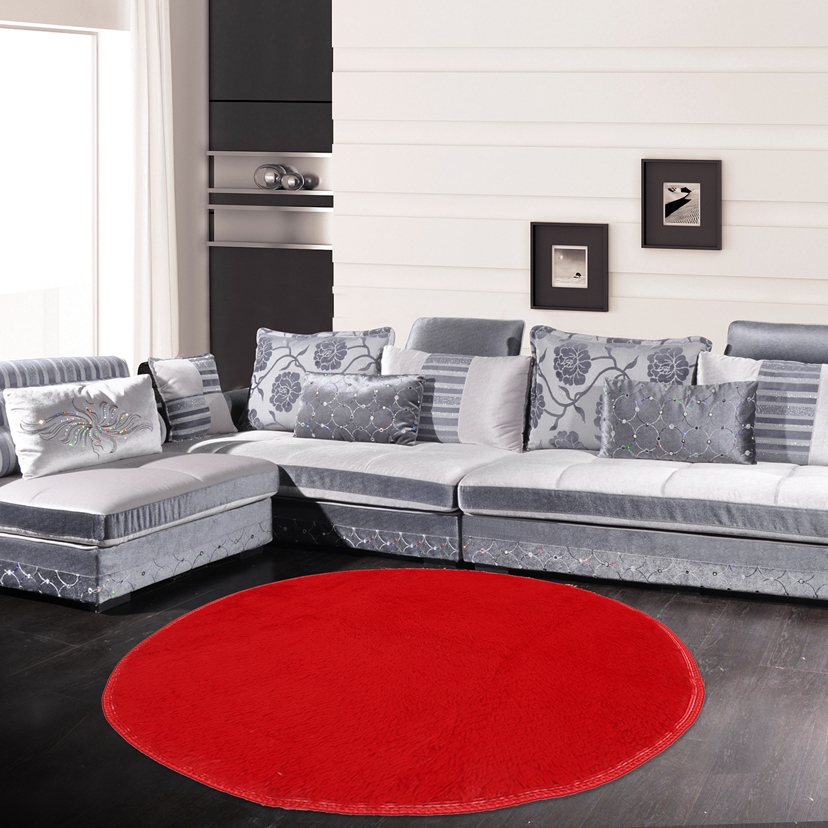 Round Area Rugs For Bedroom Anti Slip Fluffy Shaggy Living Room Carpets Home Decor Rugs Red
