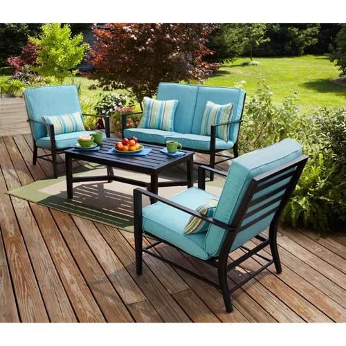 mainstays rockview 4 piece patio conversation set seats 4 with blue cushions