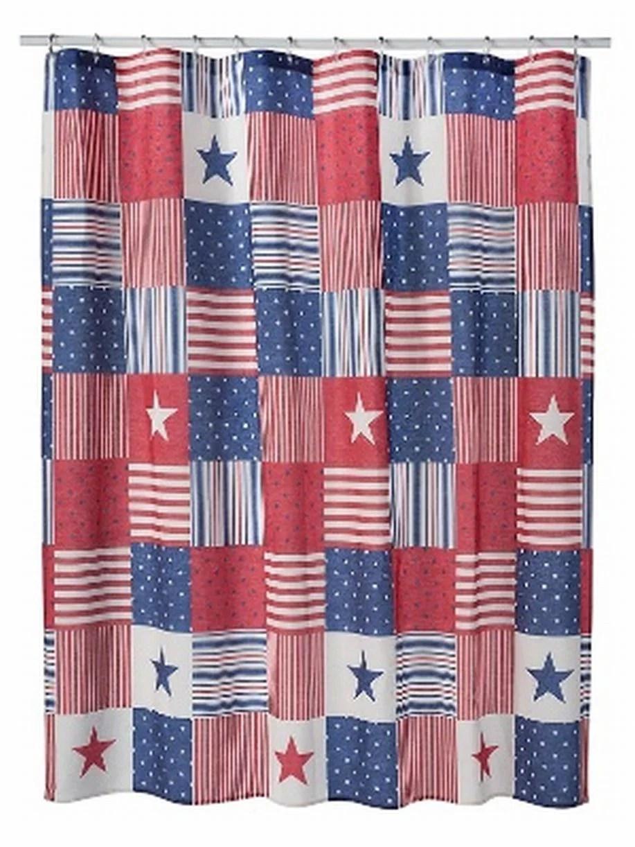 celebrate americana red white blue fabric shower curtain usa bath decor