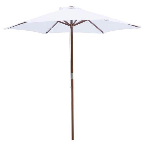 8 foot white patio furniture wood market umbrella