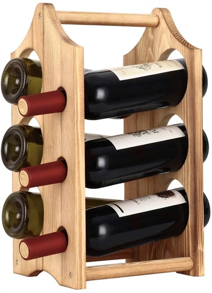 wine rack 6 bottles rustic wood wine bottle holder free standing countertop wine racks storage walmart com