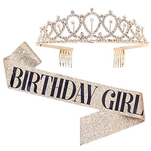 Birthday Girl Sash Rhinestone Tiara Kit Gold Glitter Birthday Gifts Birthday Sash For Women Birthday Party Supplies Walmart Com Walmart Com