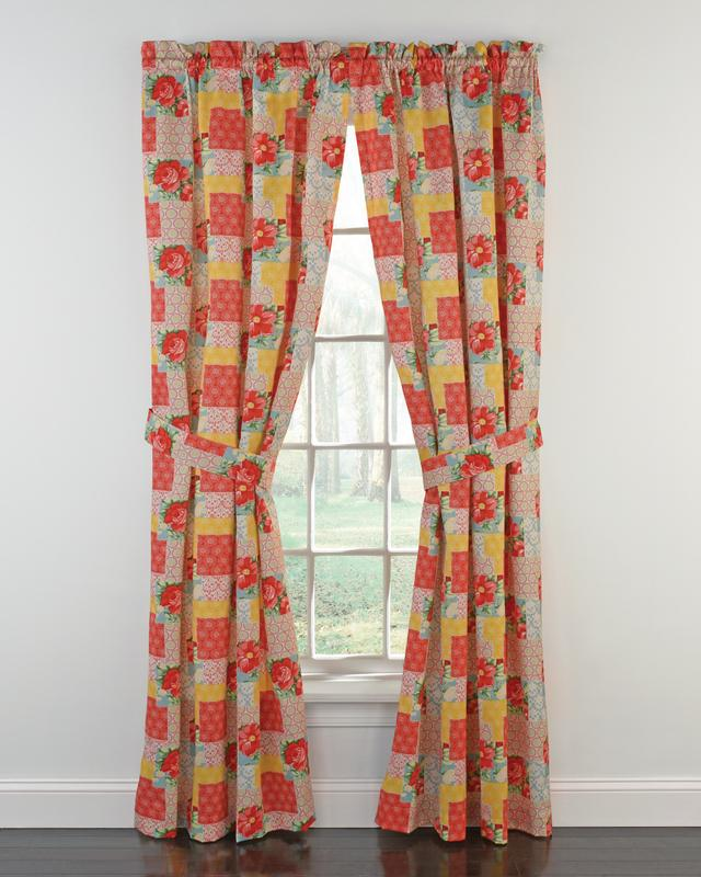 the pioneer woman patchwork window curtain panel 40 w x 84 l set of 2 multiple sizes