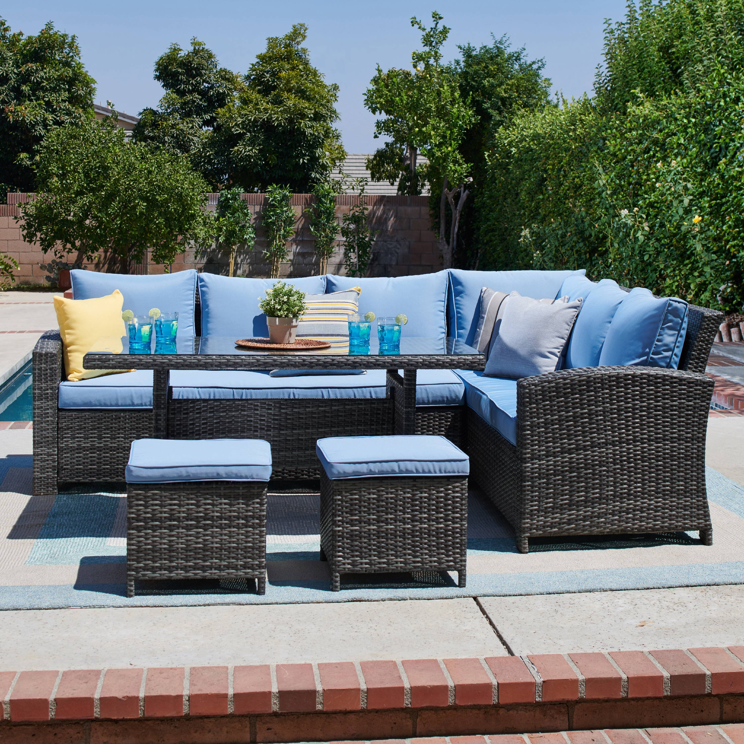 5 piece outdoor sectional and dining set in grey light blue walmart com