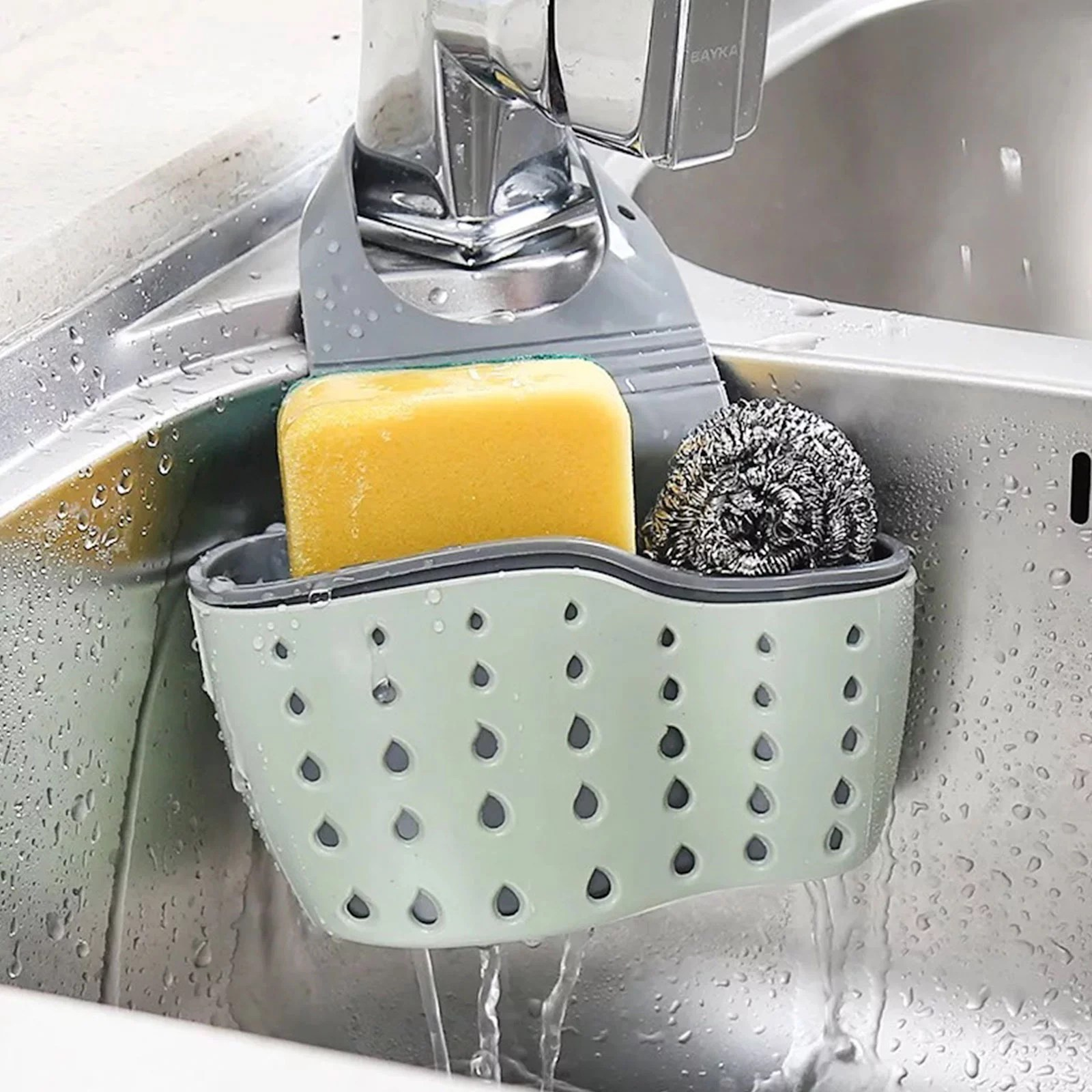 eeekit kitchen hanging sponge holder adjustable rubber sink caddy organizer dishwashing liquid drainer brush rack draining basket for scrubber dish