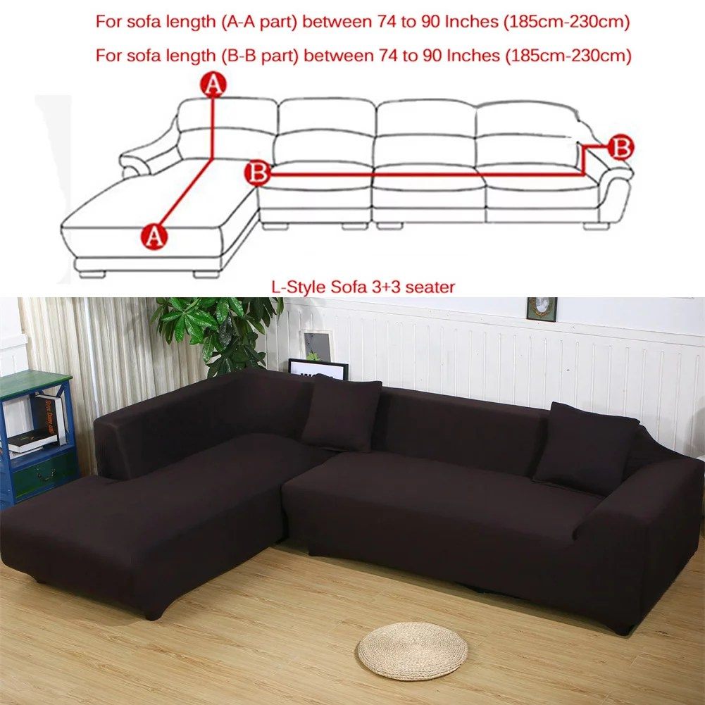 sofa covers for l shape 2pcs polyester fabric stretch slipcovers 3 seater 70 90 4 seater 90 115 2pcs pillow covers for sectional sofa