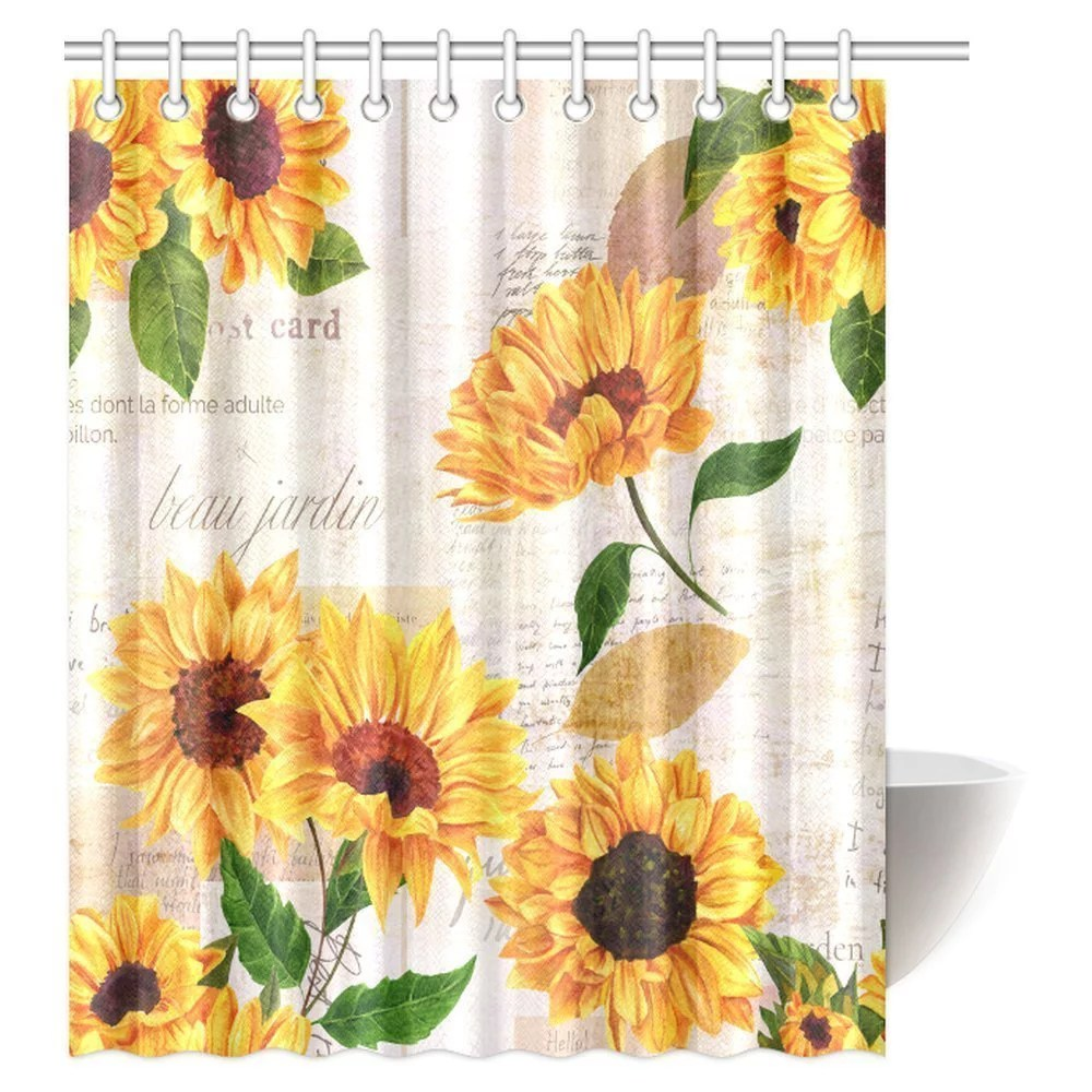 mypop vintage style floral shower curtain vibrant yellow watercolor sunflowers on the background of old letters and newspaper bathroom shower curtain