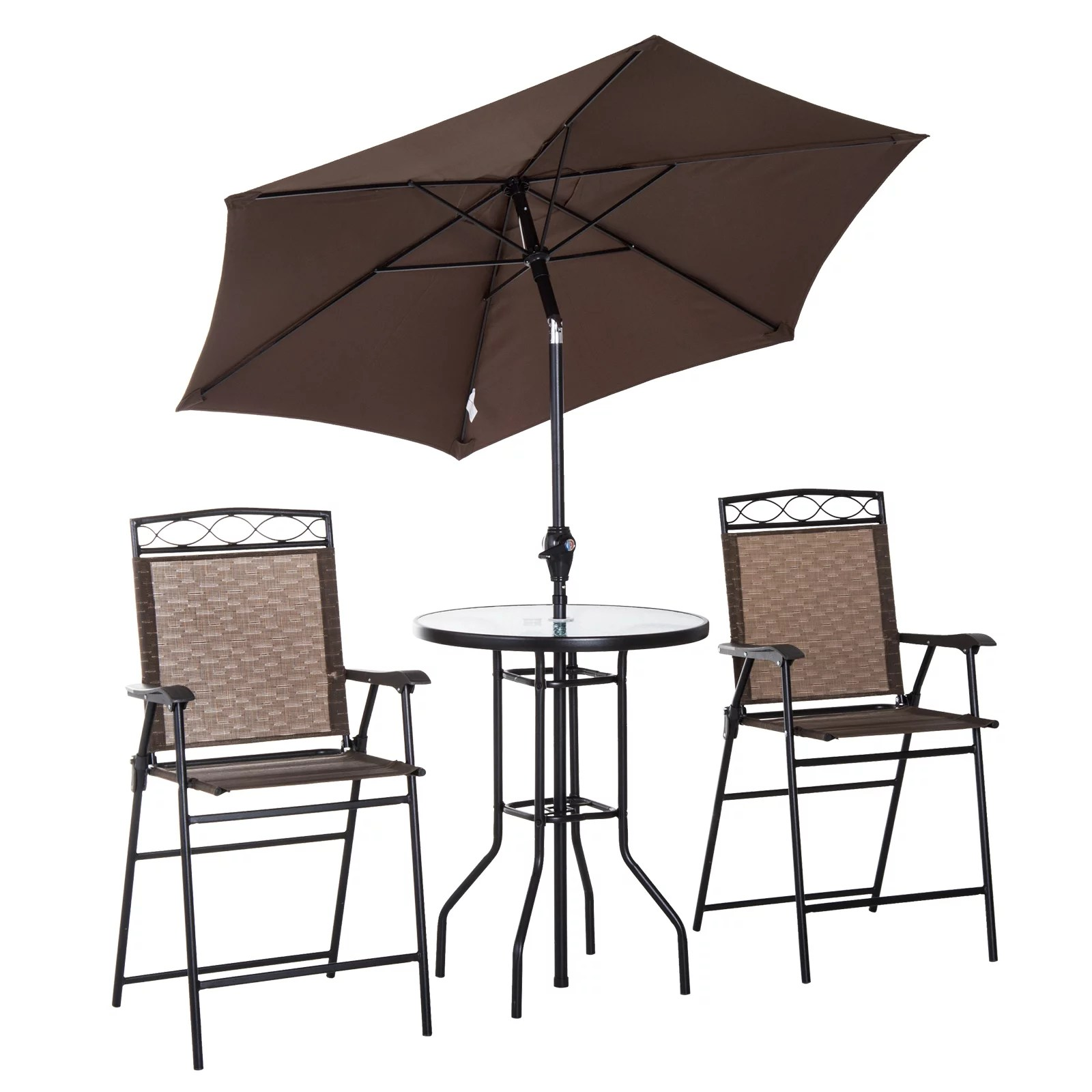 outsunny 4 piece folding outdoor patio pub dining table and chairs set with 6 adjustable tilt umbrella
