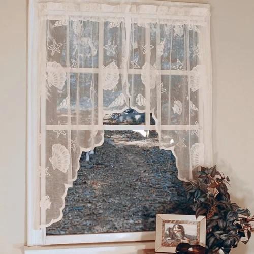 curtain chic seashell lace nautical sheer rod pocket single curtain panel