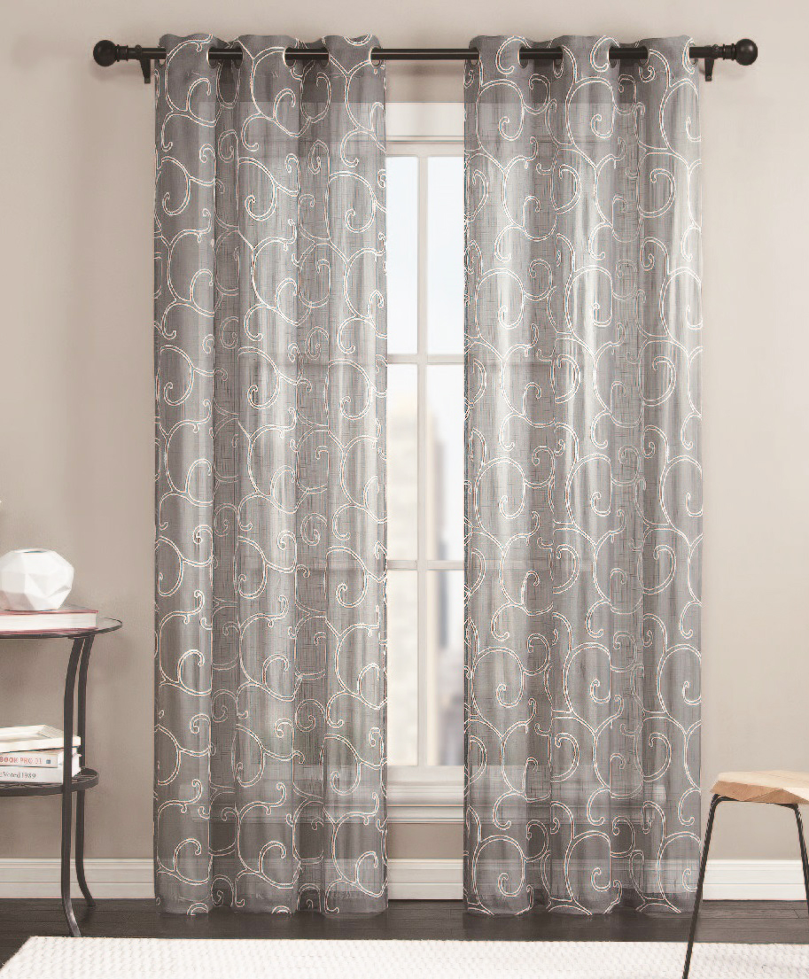 Sheer Grommet Window Curtain Panel Pair With White Scroll Design 76inX84in Gray