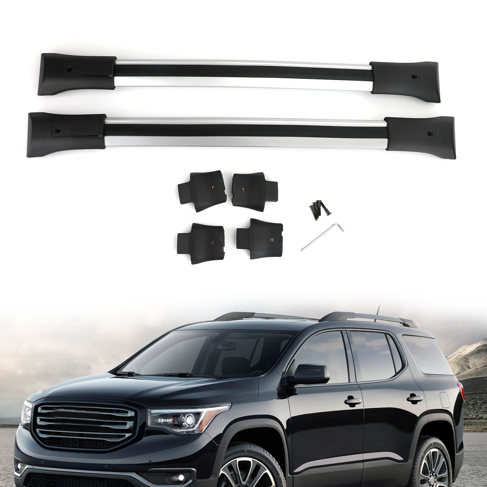 motor genic roof rack cross rail package silver 84130842 fits for gmc acadia gm 2010 2017