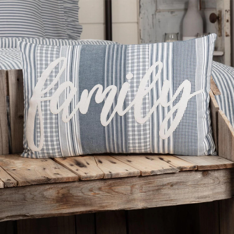denim blue farmhouse bedding miller farm family cotton appliqued chambray text rectangle 14x22 pillow pillow cover pillow insert