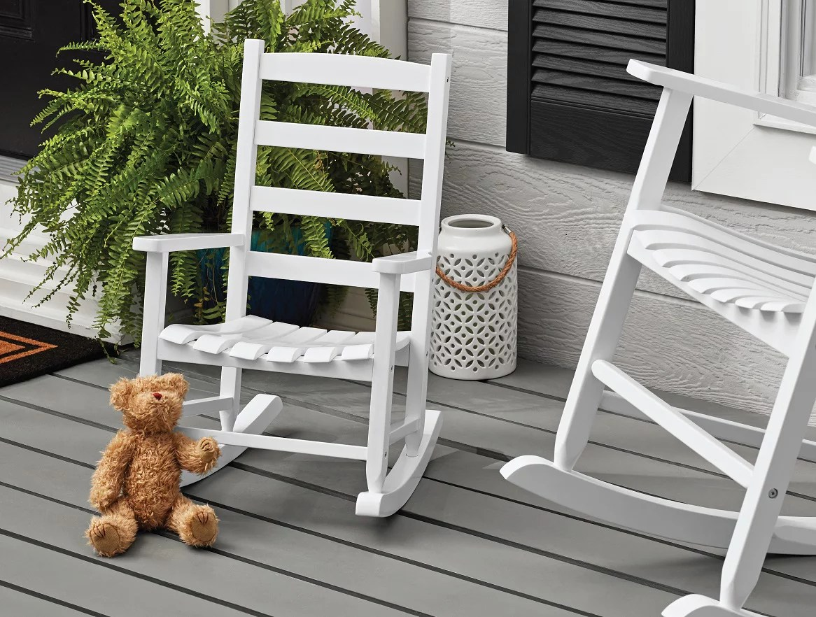 mainstays kids outdoor wood porch rocker white color weather resistant finish