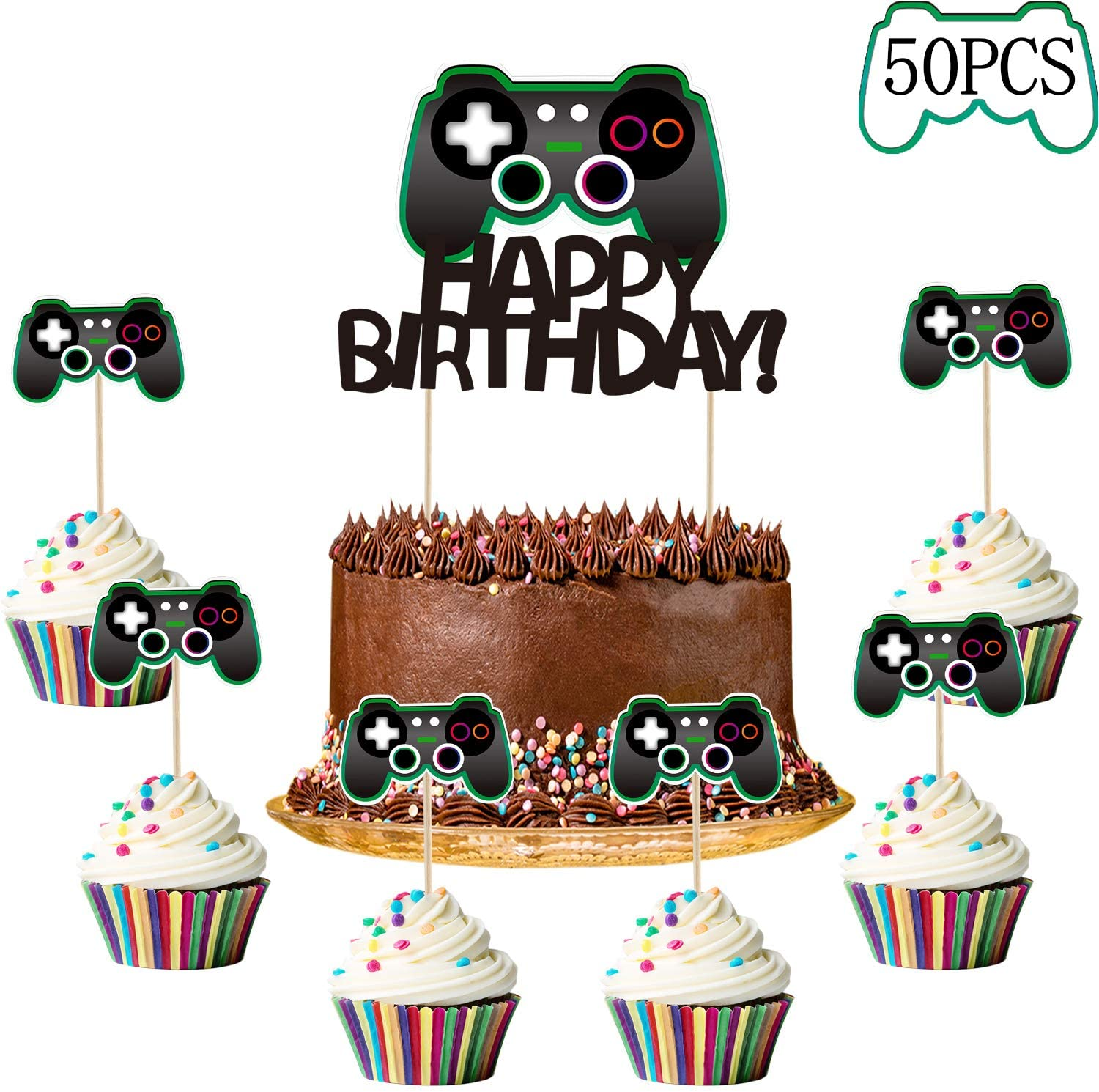 50 Pieces Video Game Cake Toppers Gaming Cupcake Toppers Gamer Cake Decorations Set Video Game Controllers Cake Toppers Happy Birthday Cake Decorations Picks For Kids Gaming Themed Birthday Walmart Com Walmart Com