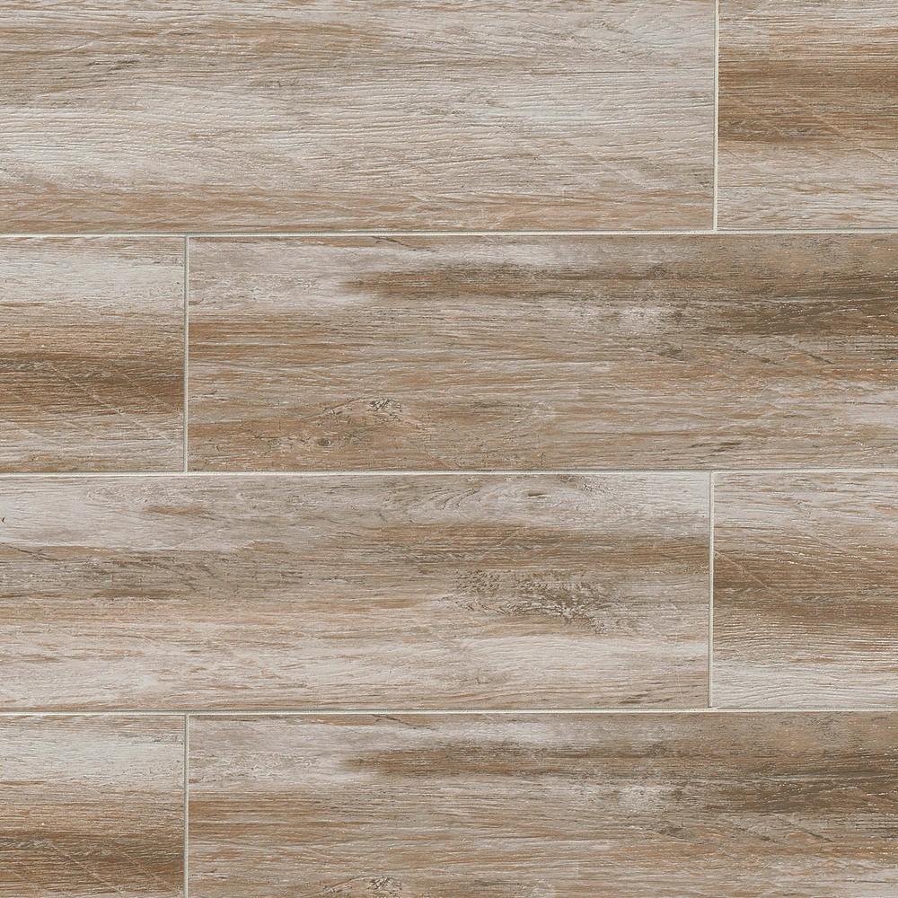 distressed 8 in x 48 in wood look porcelain field tile in betulla