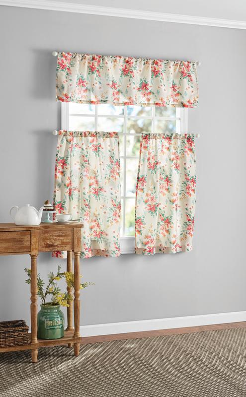 mainstays floral 3 piece window curtain set