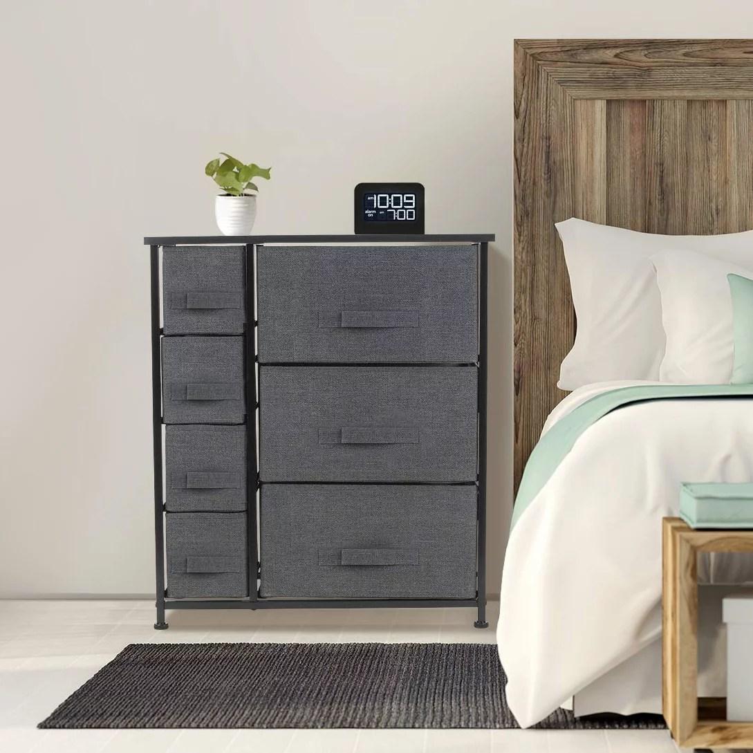 6 drawers chest dresser black
