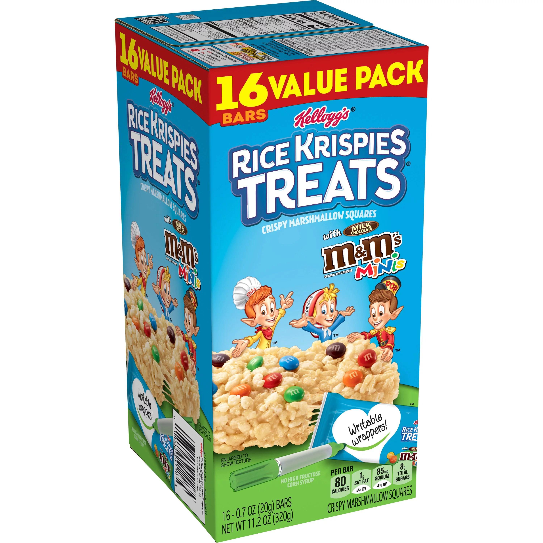 Rice Krispies Treats Marshmallow Snack Bars Kids Snacks School Lunch Value Pack Original With M M S Minis 11 2oz Box 16 Bars Walmart Com Walmart Com