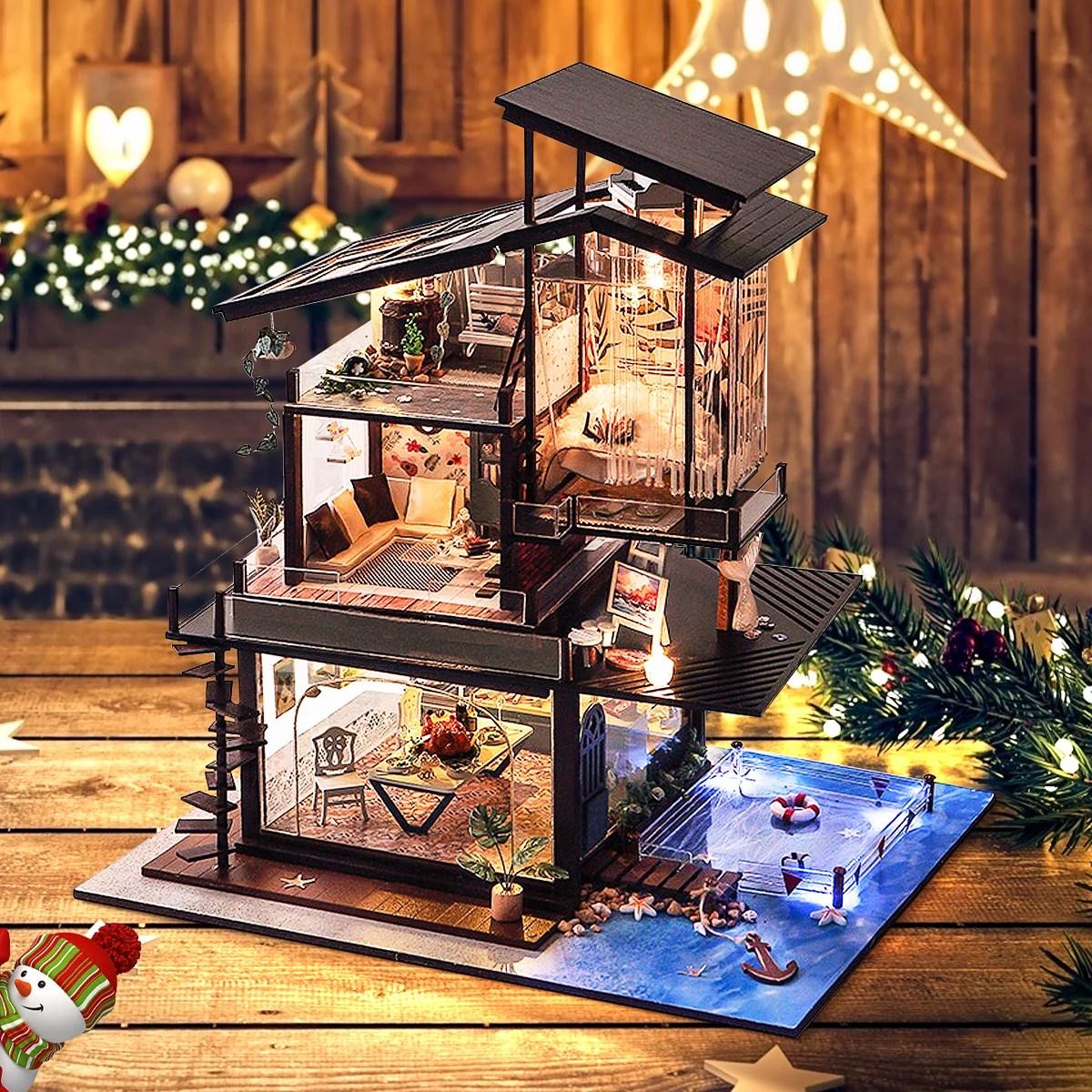 led light miniature coastal villa dollhouse diy kit wooden doll house model toy with furniture home ornament decor kids adult gift multi pattern