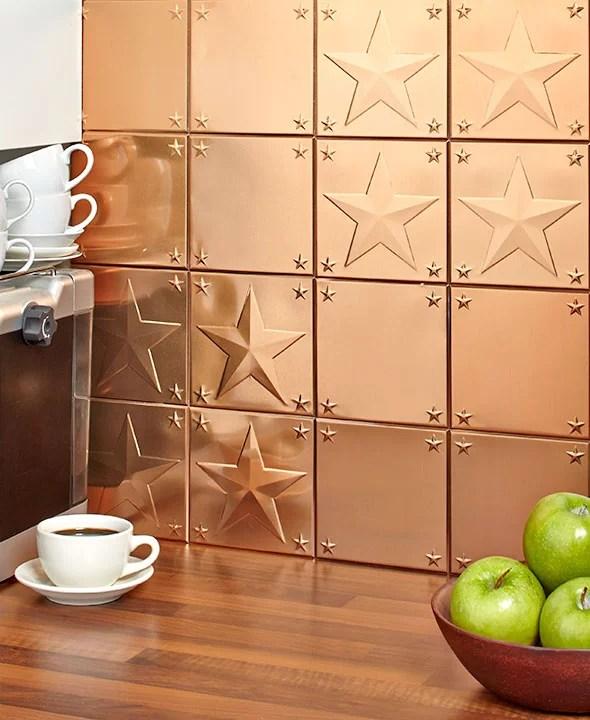 sets of 16 metal backsplash tiles copper star