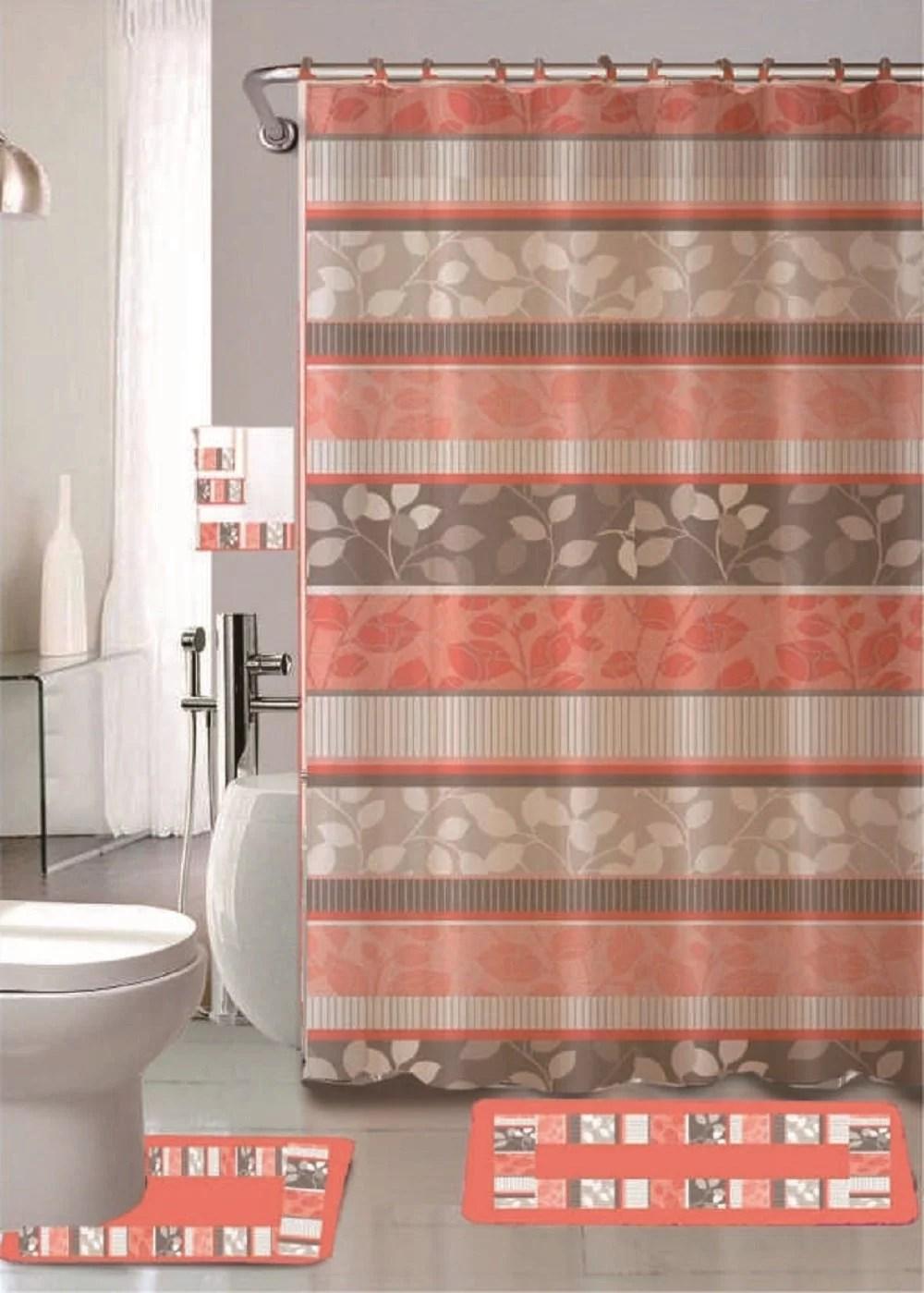 zen peach 18 piece bathroom set 2 rugs mats 1 fabric shower curtain 12 fabric covered rings 3 pc decorative towel set