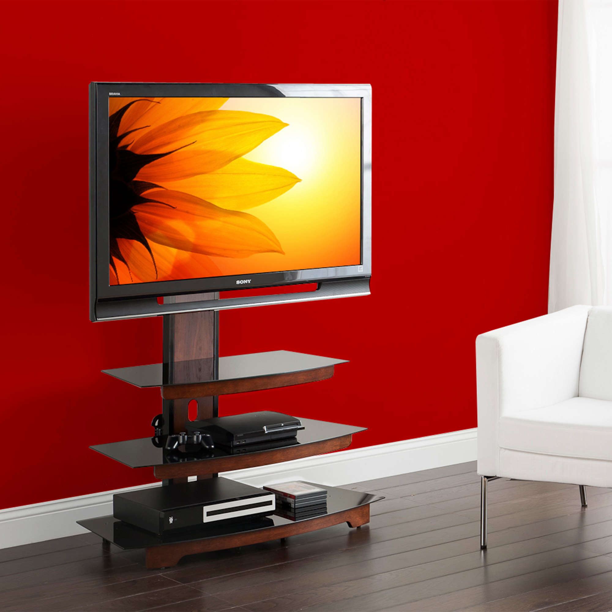whalen 3 tier television stand for tvs up to 50 perfect for flat screens black metal with wood trim accent
