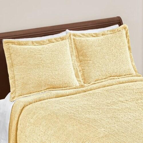 classique tufted striped design chenille pillow sham yellow sham
