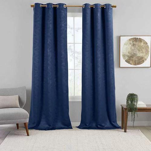 virginia pair set of 2 blackout weave energy saving thermal curtain panels grommet embossed fabric leafy designs 74 w x 108 l navy