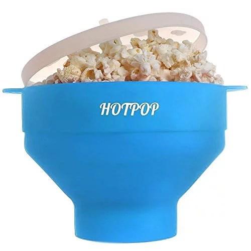 the original hotpop microwave popcorn popper silicone popcorn maker collapsible bowl bpa free dishwasher safe light blue