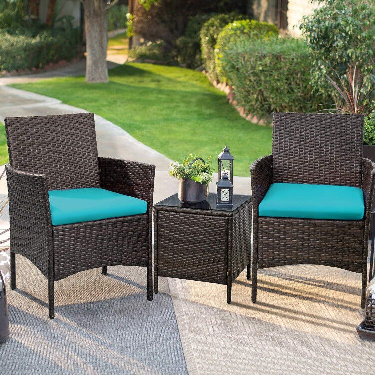 walnew 3 pcs outdoor patio furniture pe rattan wicker table and chairs set bar set with cushioned tempered glass brown blue