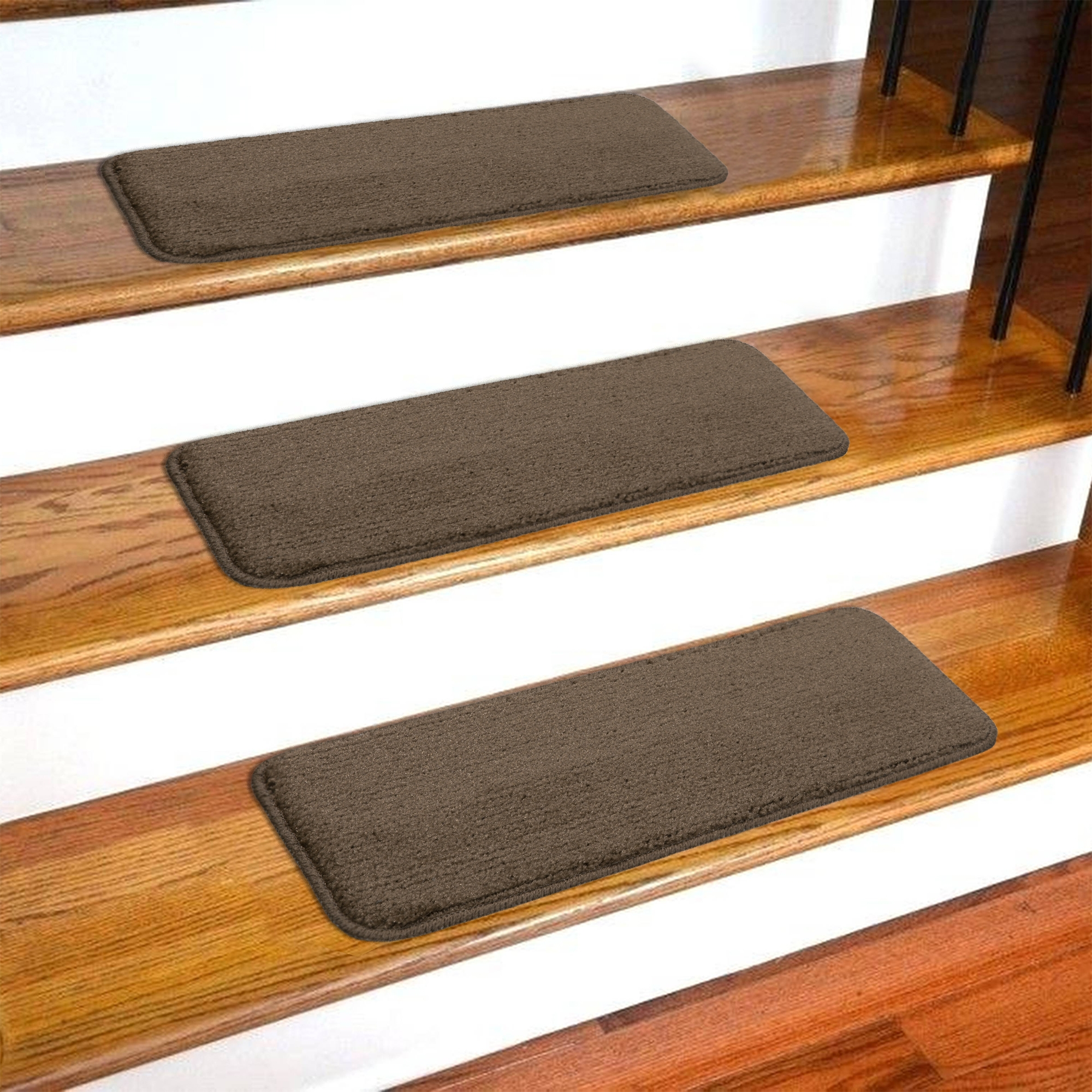 Ottomanson Softy Stair Treads Solid Skid Resistant Rubber Backing   Carpet On Wooden Stairs   Dark   Appreciation   Basement   Fitting   Contemporary
