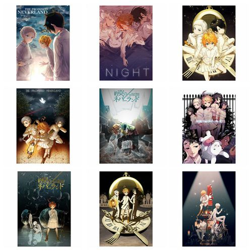 yaoping set of 9 pieces the promised neverland poster anime wall decor a3 297mm 420mm 9pcs poster