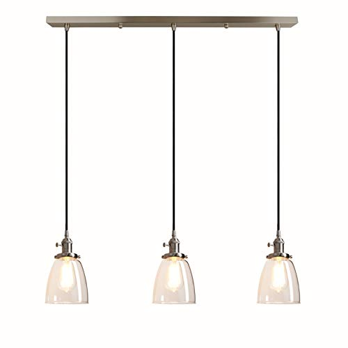 pathson industrial 3 light pendant lighting kitchen island hanging lamps with oval clear glass shade chandelier ceiling light fixture brushed steel