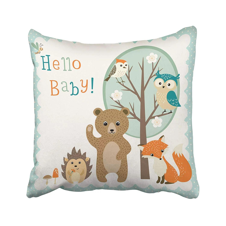 animal bear squirrel fox throw pillow