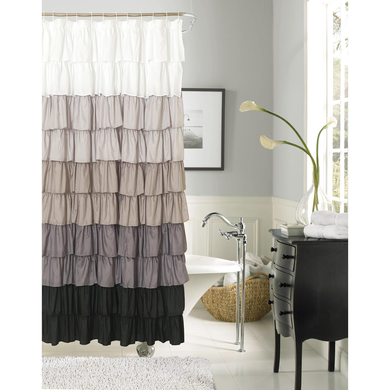 dainty home flamenco ruffle shower curtain silver black walmart com