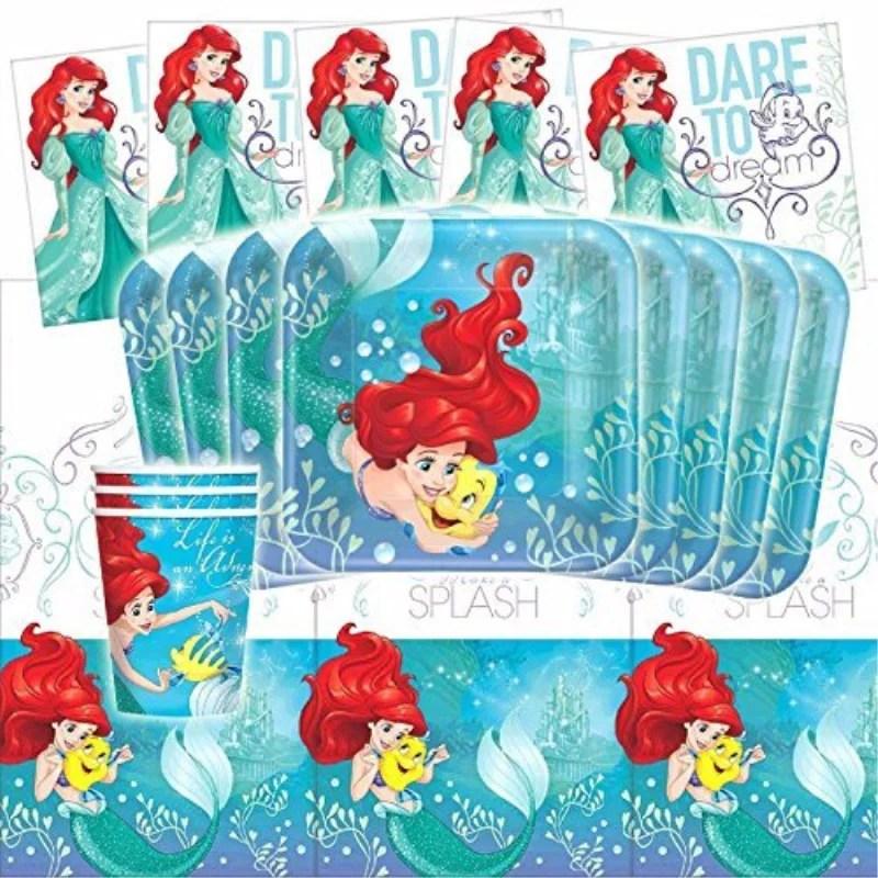 Disney Ariel Dream Big Little Mermaid Birthday Party Tileware Pack Kit For 16 Walmart Com Walmart Com