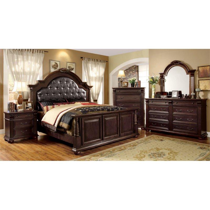 furniture of america catherine 4 piece king bedroom set in brown cherry