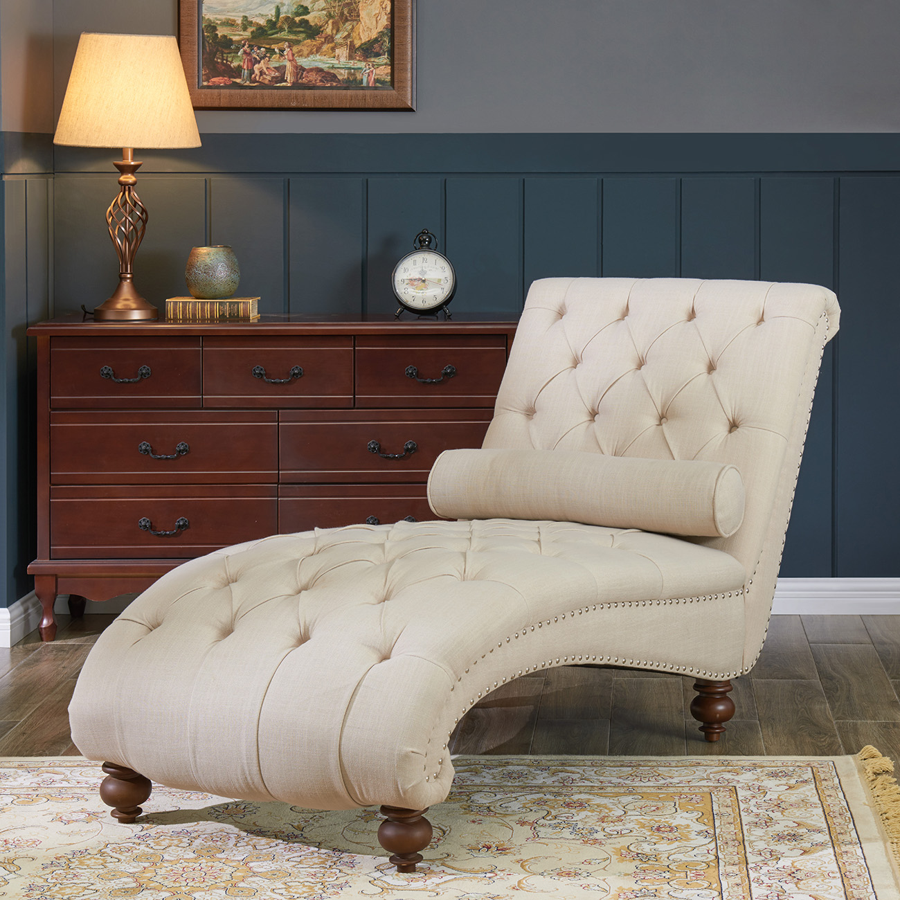 belleze teofila tufted chaise lounge chair leisure sofa couch with bolster pillow nailhead trim and turned legs beige