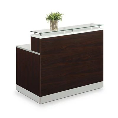 esquire glass top reception desk 63 w x 32 d driftwood laminate silver laminate desktop kickplate and accents glass top