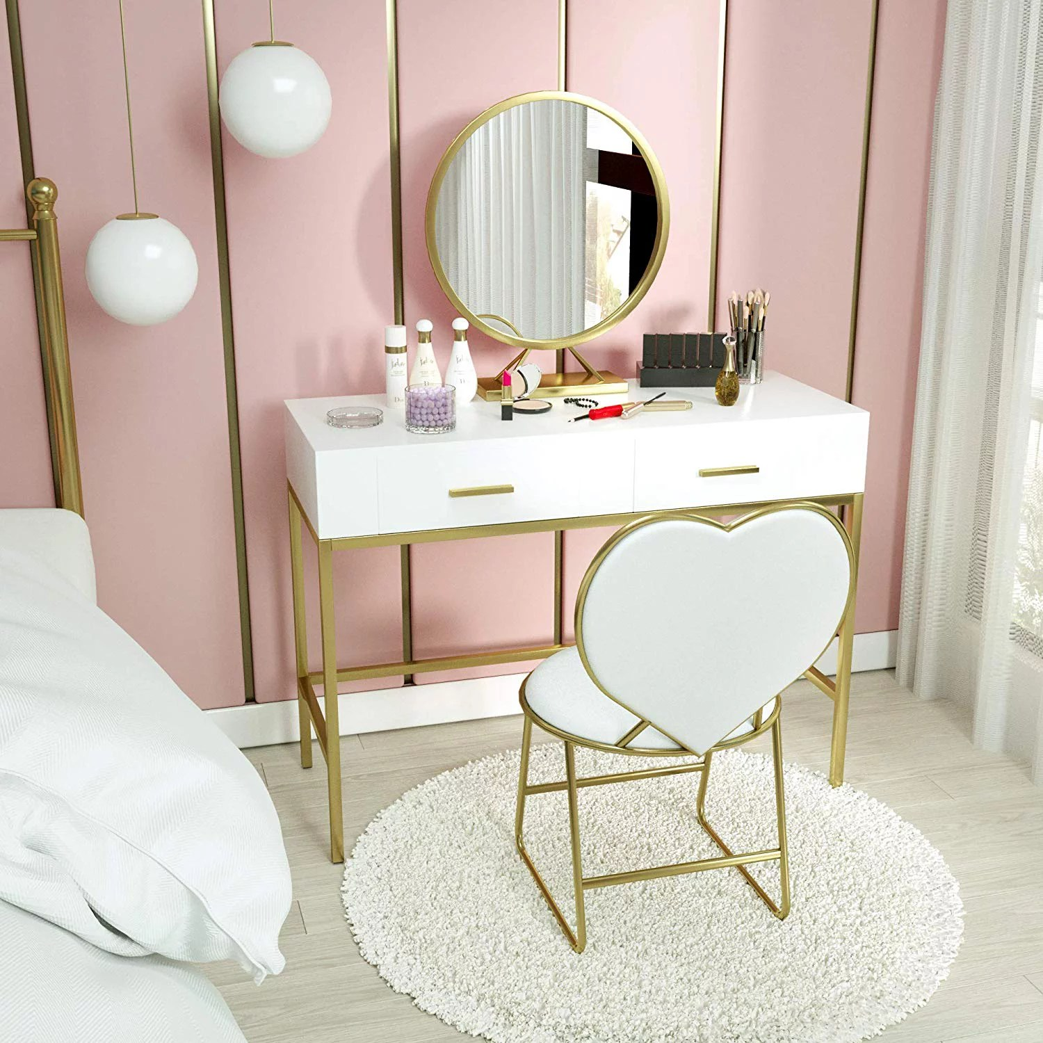 mecor vanity table set with mirror white vanity desk wood makeup vanity with gold metal legs heart shape cushioned stool girls women bedroom furniture